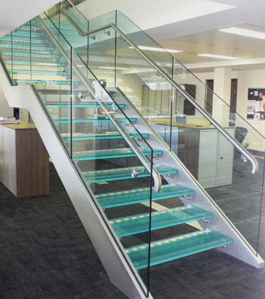 Glass Feature Stair Client Offices 