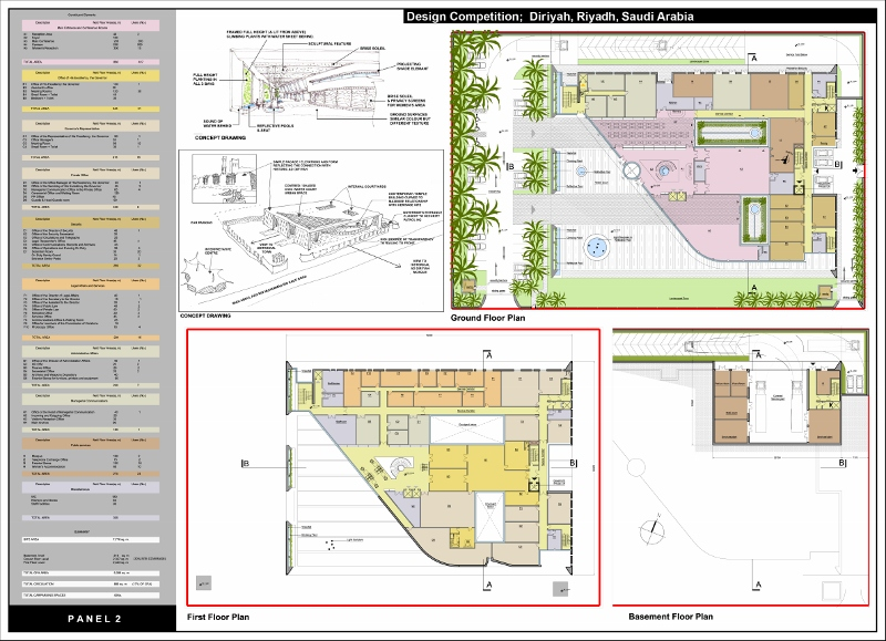 Directorate Offices Diriyah Saudi Arabia - Plans and Courtyard concept