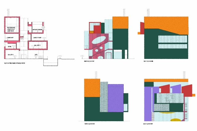 Early Presentation drawings elevations and cross section